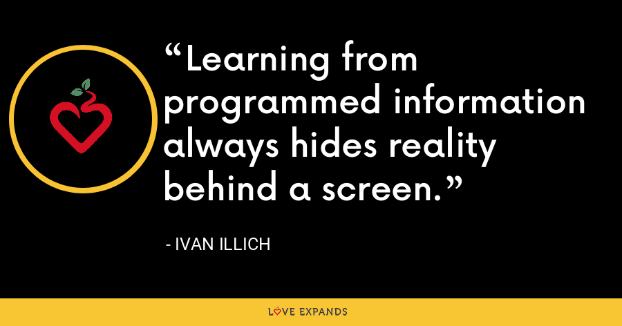 Learning from programmed information always hides reality behind a screen. - Ivan Illich