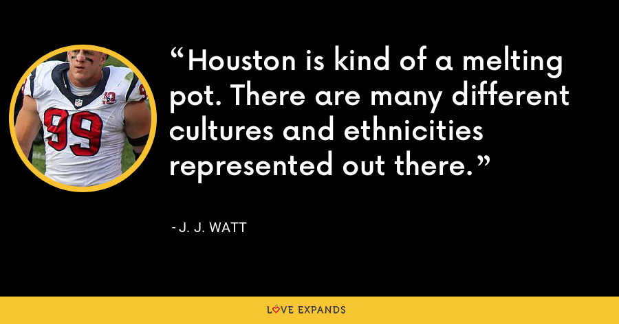 Houston is kind of a melting pot. There are many different cultures and ethnicities represented out there. - J. J. Watt