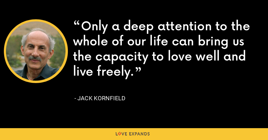 Only a deep attention to the whole of our life can bring us the capacity to love well and live freely. - Jack Kornfield