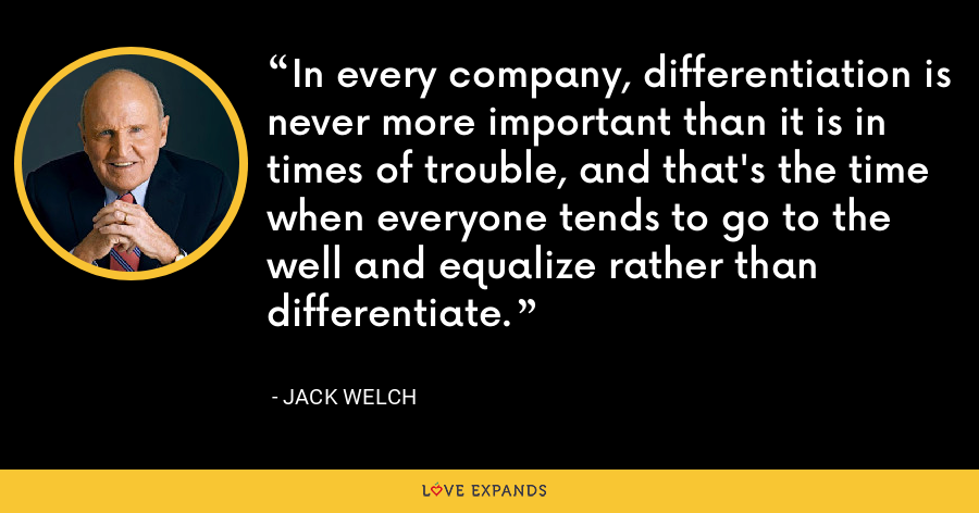 In every company, differentiation is never more important than it is in times of trouble, and that's the time when everyone tends to go to the well and equalize rather than differentiate. - Jack Welch