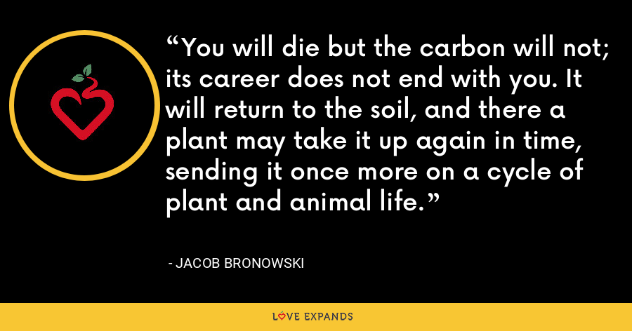 You will die but the carbon will not; its career does not end with you. It will return to the soil, and there a plant may take it up again in time, sending it once more on a cycle of plant and animal life. - Jacob Bronowski