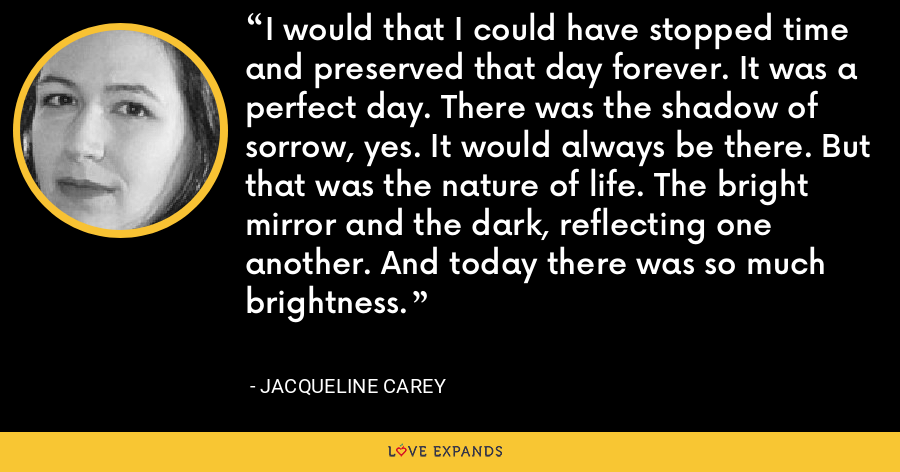 I would that I could have stopped time and preserved that day forever. It was a perfect day. There was the shadow of sorrow, yes. It would always be there. But that was the nature of life. The bright mirror and the dark, reflecting one another. And today there was so much brightness. - Jacqueline Carey