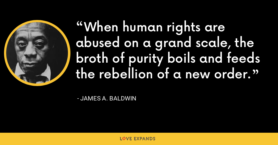 When human rights are abused on a grand scale, the broth of purity boils and feeds the rebellion of a new order. - James A. Baldwin