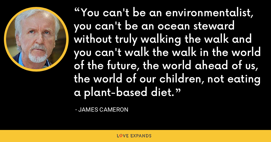 You can't be an environmentalist, you can't be an ocean steward without truly walking the walk and you can't walk the walk in the world of the future, the world ahead of us, the world of our children, not eating a plant-based diet. - James Cameron