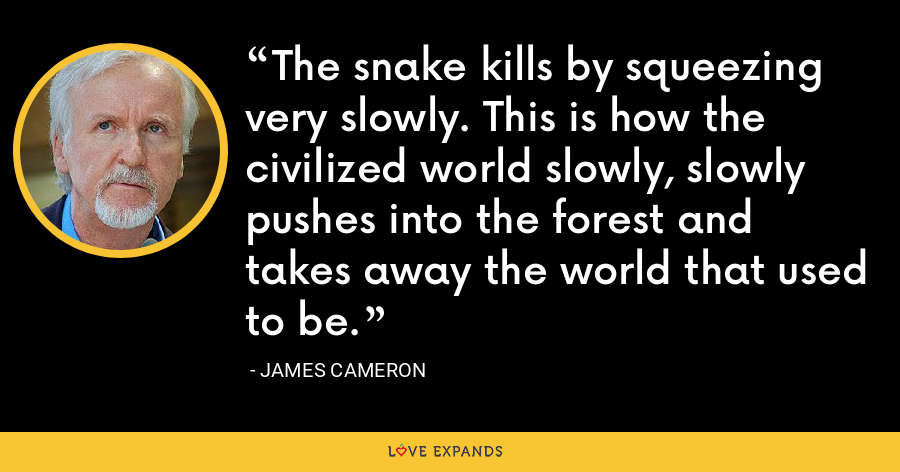 The snake kills by squeezing very slowly. This is how the civilized world slowly, slowly pushes into the forest and takes away the world that used to be. - James Cameron