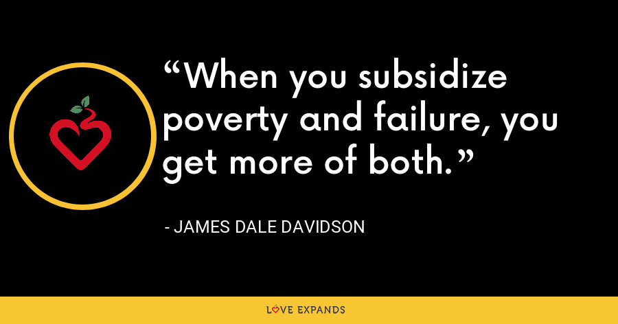 When you subsidize poverty and failure, you get more of both. - James Dale Davidson