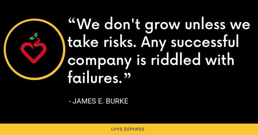 We don't grow unless we take risks. Any successful company is riddled with failures. - James E. Burke