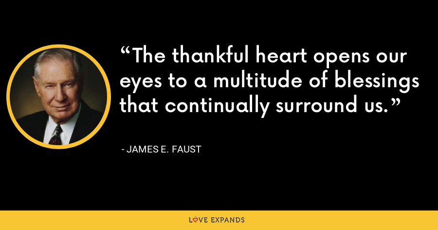 The thankful heart opens our eyes to a multitude of blessings that continually surround us. - James E. Faust