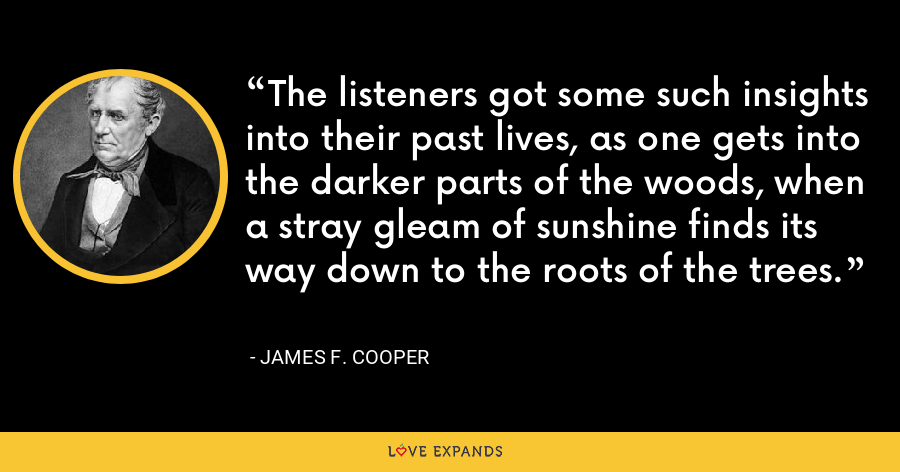 The listeners got some such insights into their past lives, as one gets into the darker parts of the woods, when a stray gleam of sunshine finds its way down to the roots of the trees. - James F. Cooper