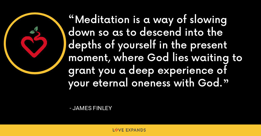 Meditation is a way of slowing down so as to descend into the depths of yourself in the present moment, where God lies waiting to grant you a deep experience of your eternal oneness with God. - James Finley