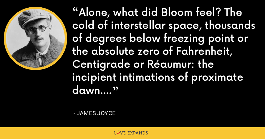 Alone, what did Bloom feel? The cold of interstellar space, thousands of degrees below freezing point or the absolute zero of Fahrenheit, Centigrade or Réaumur: the incipient intimations of proximate dawn. - James Joyce