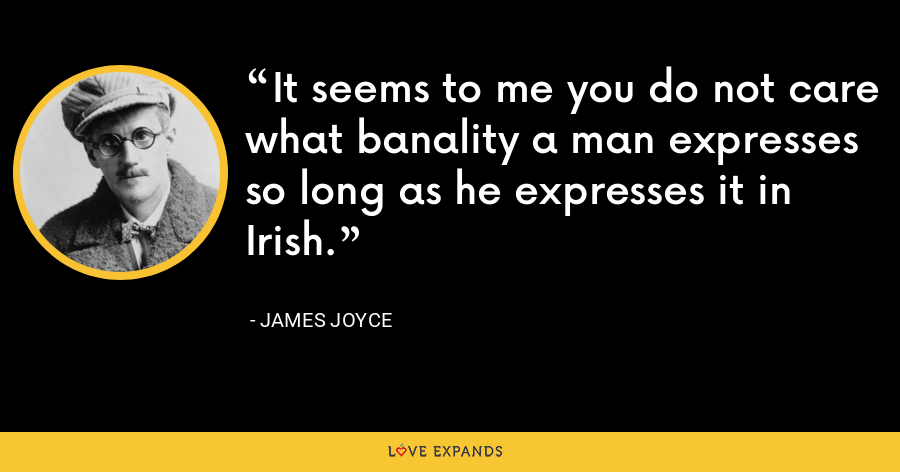 It seems to me you do not care what banality a man expresses so long as he expresses it in Irish. - James Joyce