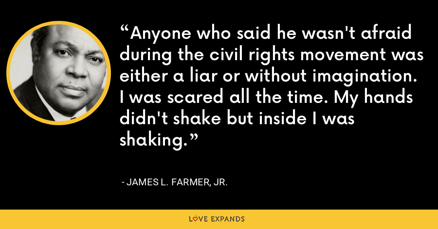 Anyone who said he wasn't afraid during the civil rights movement was either a liar or without imagination. I was scared all the time. My hands didn't shake but inside I was shaking. - James L. Farmer, Jr.