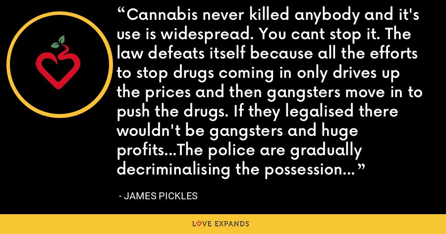 Cannabis never killed anybody and it's use is widespread. You cant stop it. The law defeats itself because all the efforts to stop drugs coming in only drives up the prices and then gangsters move in to push the drugs. If they legalised there wouldn't be gangsters and huge profits...The police are gradually decriminalising the possession of cannabis because they realise there's not much point prosecuting - James Pickles