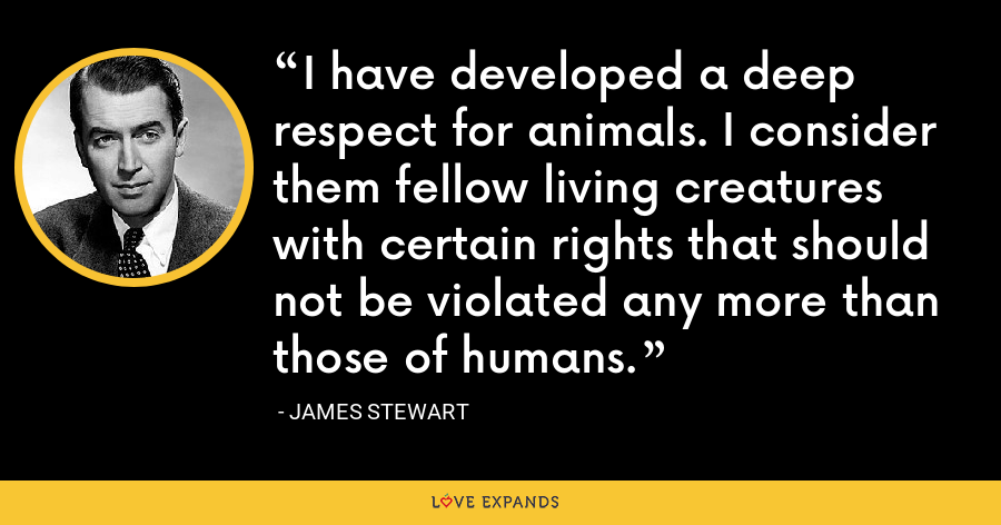 I have developed a deep respect for animals. I consider them fellow living creatures with certain rights that should not be violated any more than those of humans. - James Stewart