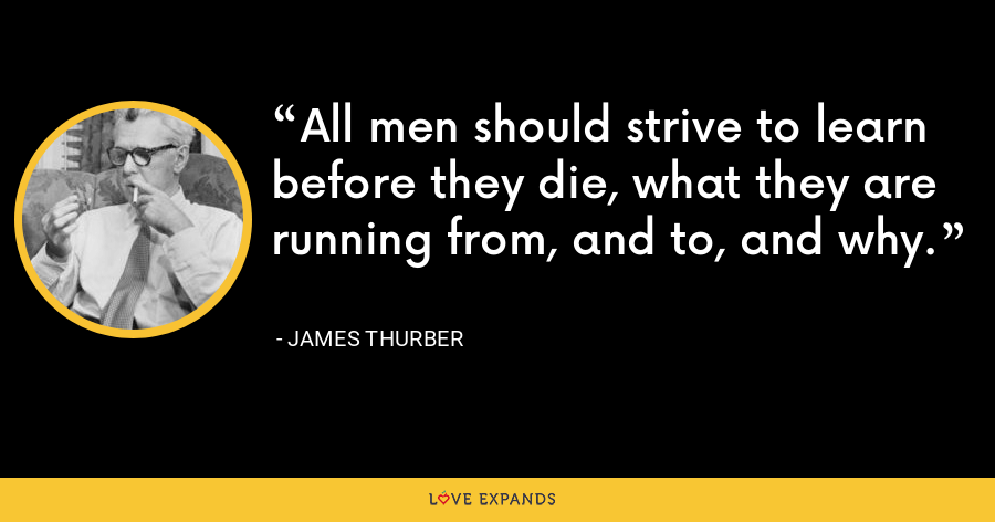All men should strive to learn before they die, what they are running from, and to, and why. - James Thurber