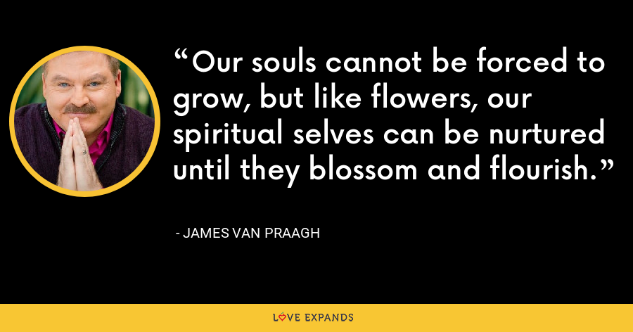 Our souls cannot be forced to grow, but like flowers, our spiritual selves can be nurtured until they blossom and flourish. - James Van Praagh
