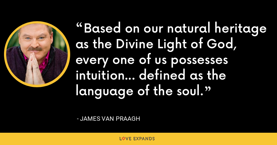 Based on our natural heritage as the Divine Light of God, every one of us possesses intuition... defined as the language of the soul. - James Van Praagh