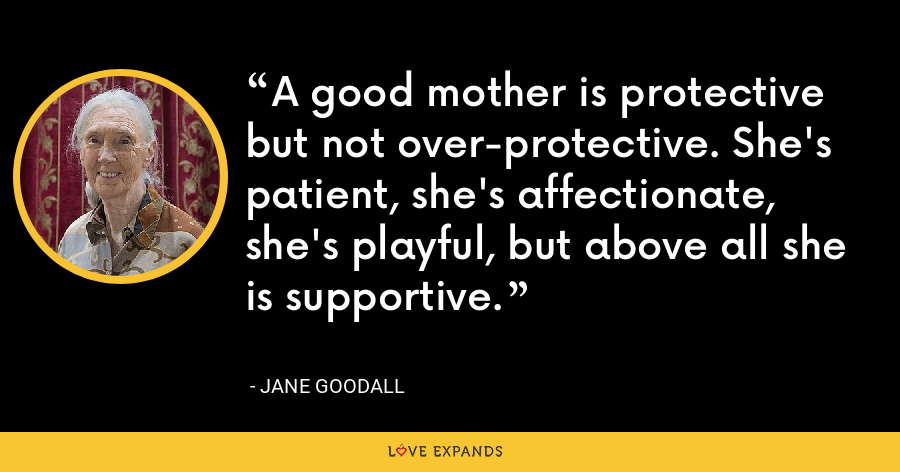 A good mother is protective but not over-protective. She's patient, she's affectionate, she's playful, but above all she is supportive. - Jane Goodall