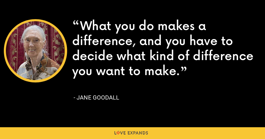What you do makes a difference, and you have to decide what kind of difference you want to make. - Jane Goodall