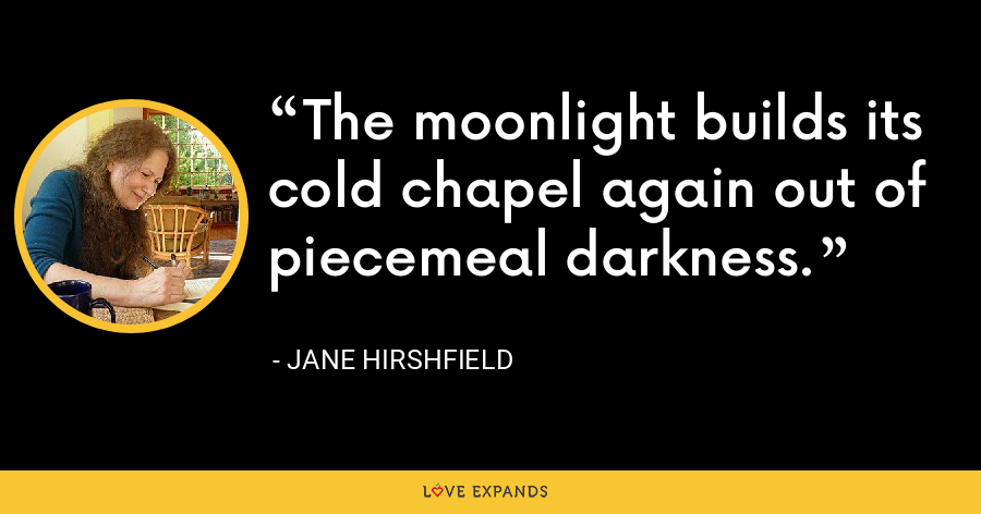 The moonlight builds its cold chapel again out of piecemeal darkness. - Jane Hirshfield