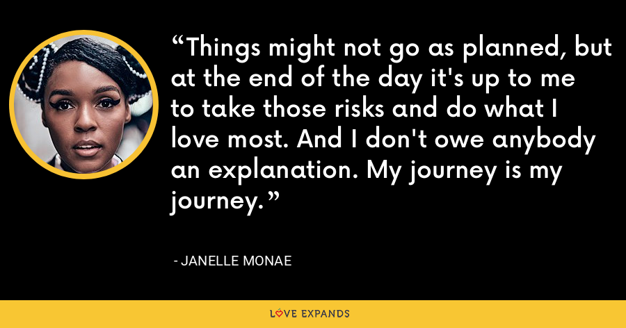 Things might not go as planned, but at the end of the day it's up to me to take those risks and do what I love most. And I don't owe anybody an explanation. My journey is my journey. - Janelle Monae