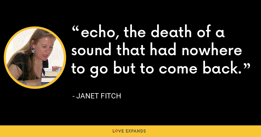 echo, the death of a sound that had nowhere to go but to come back. - Janet Fitch