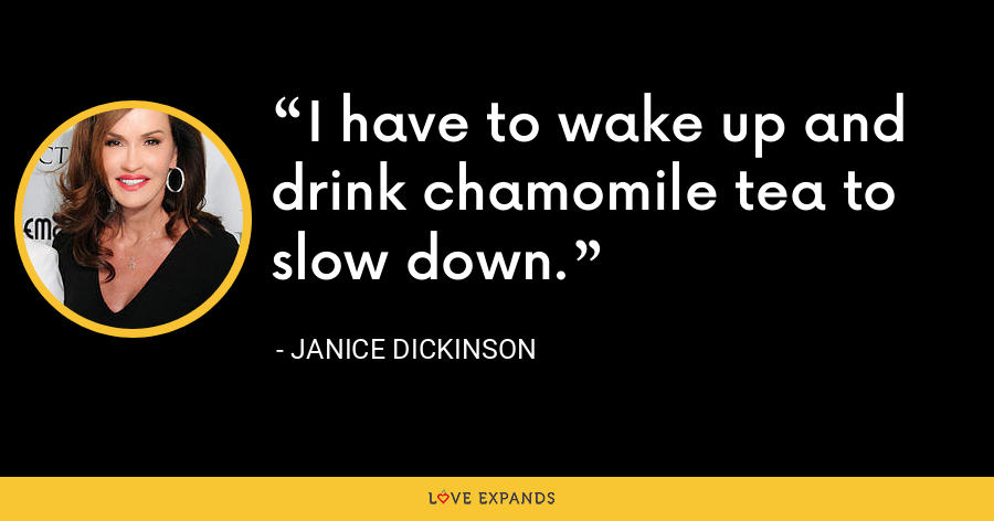 I have to wake up and drink chamomile tea to slow down. - Janice Dickinson