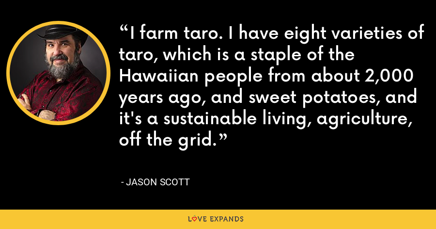 I farm taro. I have eight varieties of taro, which is a staple of the Hawaiian people from about 2,000 years ago, and sweet potatoes, and it's a sustainable living, agriculture, off the grid. - Jason Scott