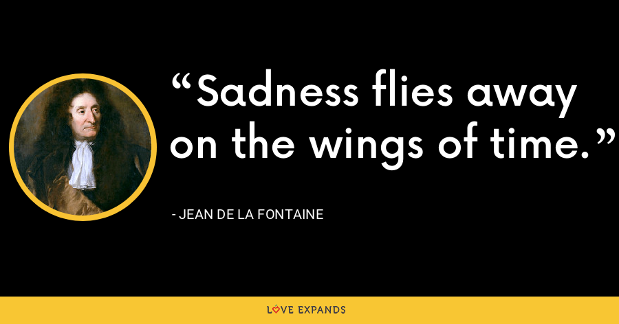 Sadness flies away on the wings of time. - Jean de La Fontaine