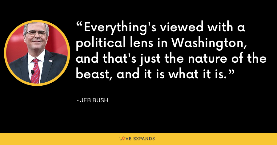 Everything's viewed with a political lens in Washington, and that's just the nature of the beast, and it is what it is. - Jeb Bush