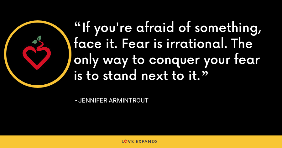 If you're afraid of something, face it. Fear is irrational. The only way to conquer your fear is to stand next to it. - Jennifer Armintrout