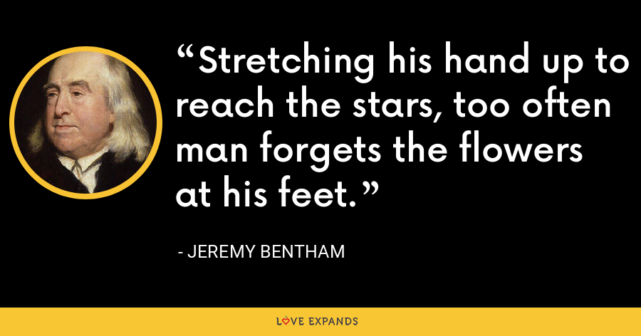 Stretching his hand up to reach the stars, too often man forgets the flowers at his feet. - Jeremy Bentham