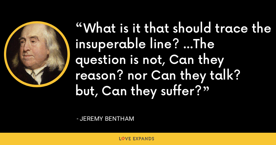 What is it that should trace the insuperable line? ...The question is not, Can they reason? nor Can they talk? but, Can they suffer? - Jeremy Bentham