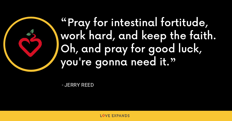 Pray for intestinal fortitude, work hard, and keep the faith. Oh, and pray for good luck, you're gonna need it. - Jerry Reed
