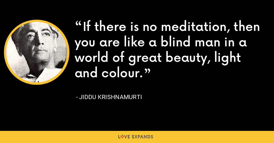 If there is no meditation, then you are like a blind man in a world of great beauty, light and colour. - Jiddu Krishnamurti