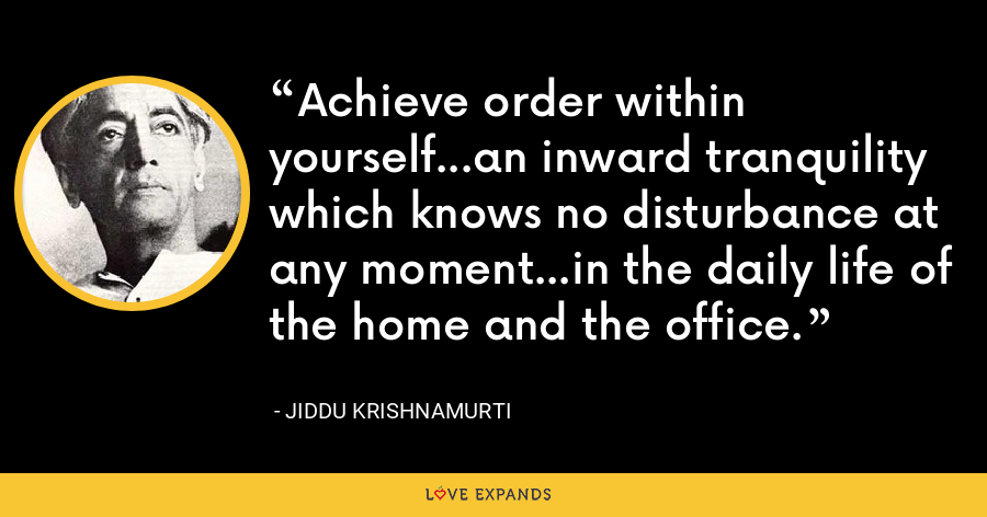 Achieve order within yourself...an inward tranquility which knows no disturbance at any moment...in the daily life of the home and the office. - Jiddu Krishnamurti