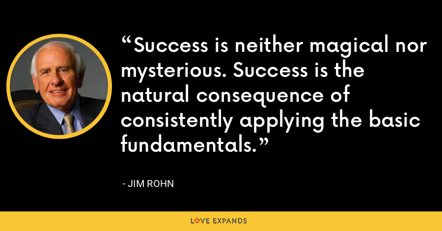 Success is neither magical nor mysterious. Success is the natural consequence of consistently applying the basic fundamentals. - Jim Rohn