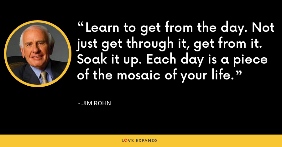 Learn to get from the day. Not just get through it, get from it. Soak it up. Each day is a piece of the mosaic of your life. - Jim Rohn