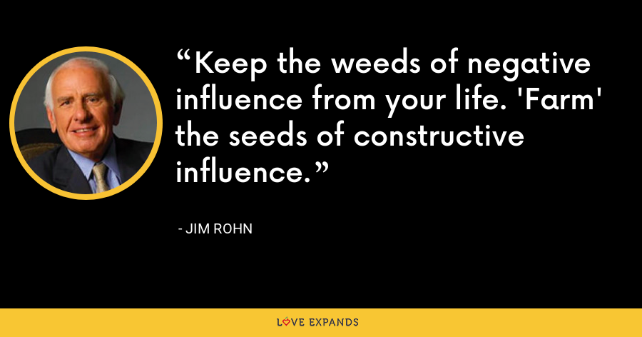 Keep the weeds of negative influence from your life. 'Farm' the seeds of constructive influence. - Jim Rohn