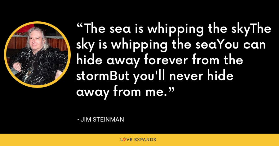 The sea is whipping the skyThe sky is whipping the seaYou can hide away forever from the stormBut you'll never hide away from me. - Jim Steinman