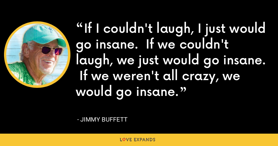 If I couldn't laugh, I just would go insane.  If we couldn't laugh, we just would go insane.  If we weren't all crazy, we would go insane. - Jimmy Buffett