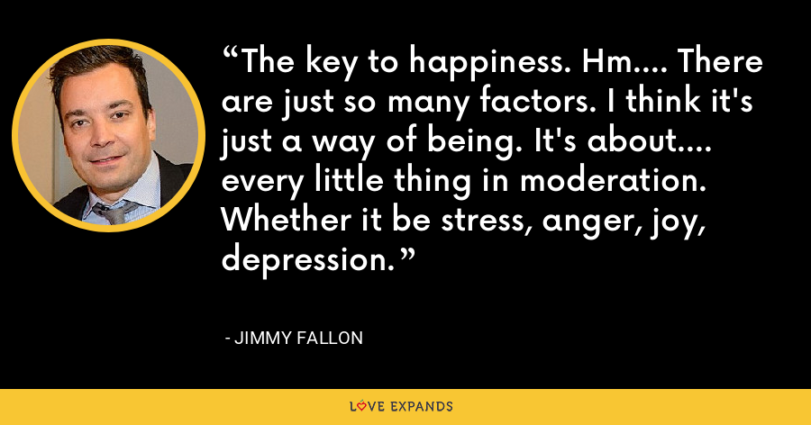 The key to happiness. Hm.... There are just so many factors. I think it's just a way of being. It's about.... every little thing in moderation. Whether it be stress, anger, joy, depression. - Jimmy Fallon