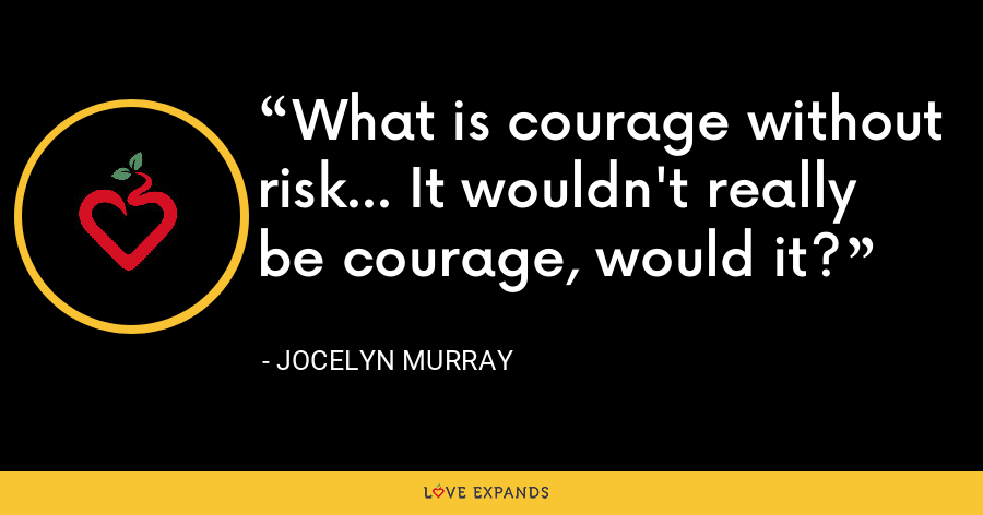 What is courage without risk... It wouldn't really be courage, would it? - Jocelyn Murray