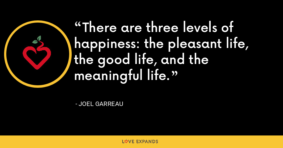 There are three levels of happiness: the pleasant life, the good life, and the meaningful life. - Joel Garreau