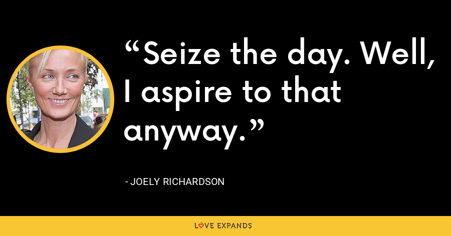 Seize the day. Well, I aspire to that anyway. - Joely Richardson