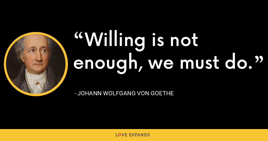 Willing is not enough, we must do. - Johann Wolfgang von Goethe