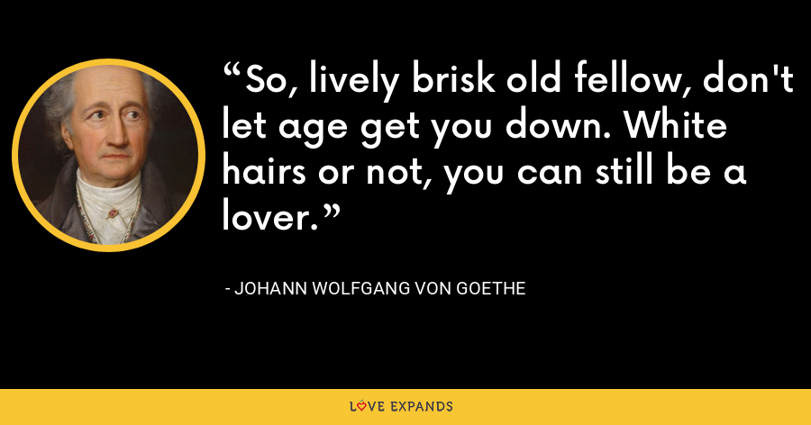 So, lively brisk old fellow, don't let age get you down. White hairs or not, you can still be a lover. - Johann Wolfgang von Goethe