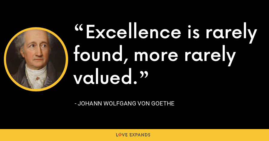 Excellence is rarely found, more rarely valued. - Johann Wolfgang von Goethe