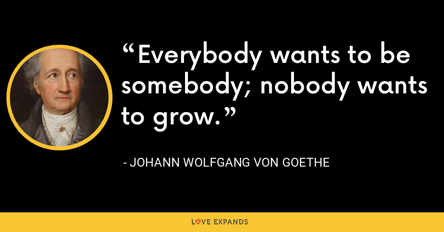 Everybody wants to be somebody; nobody wants to grow. - Johann Wolfgang von Goethe